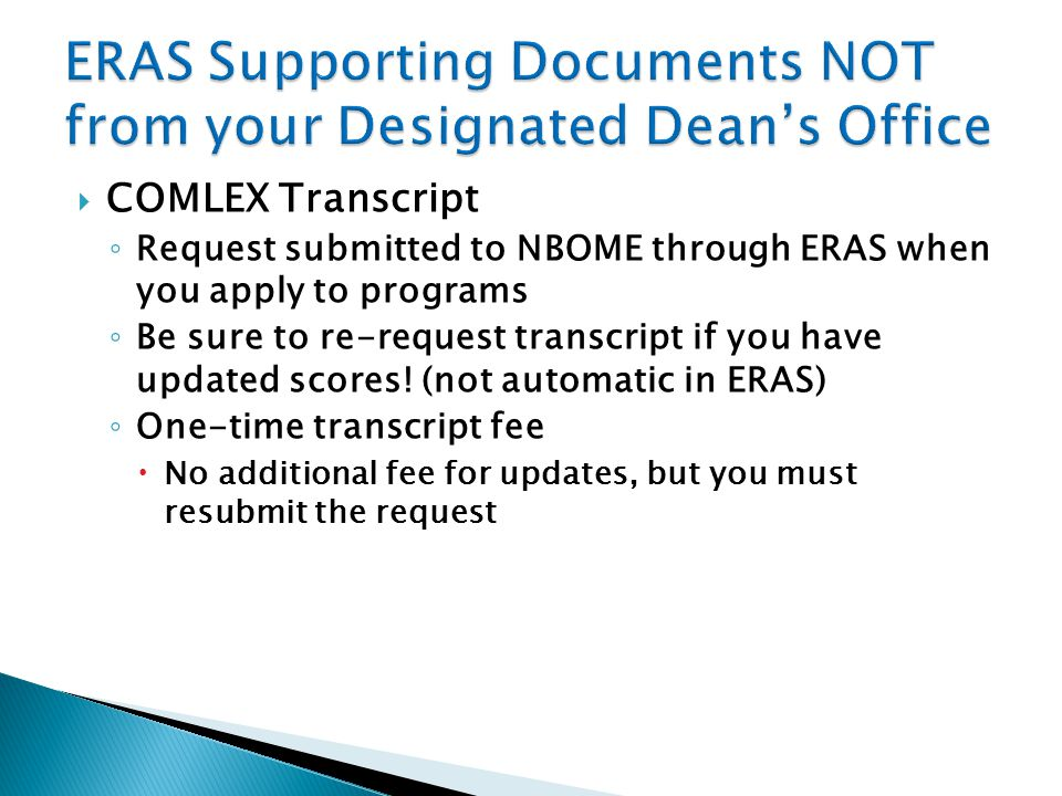 ERAS Supporting Documents NOT from your Designated Dean's Office