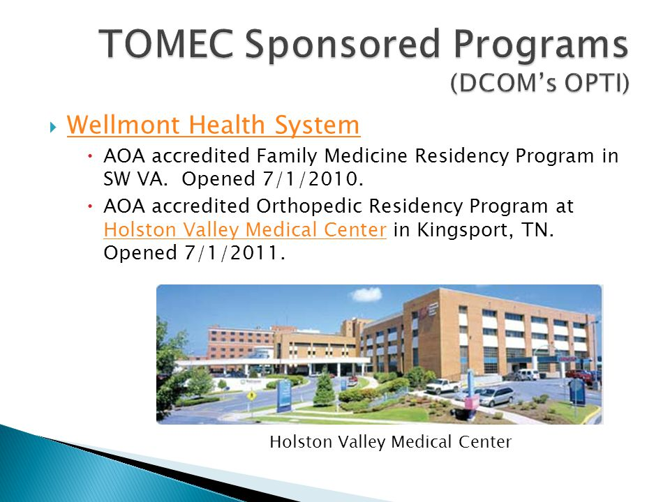 TOMEC Sponsored Programs (DCOM's OPTI)