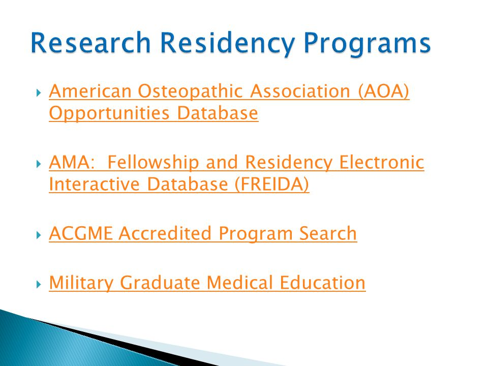 Research Residency Programs