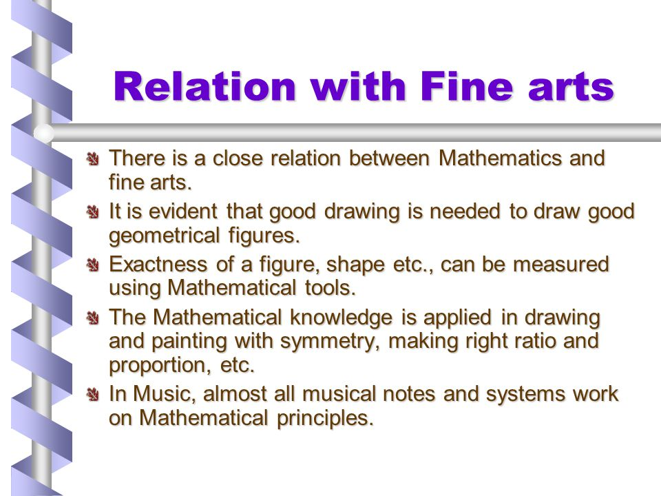 Relation with Fine arts