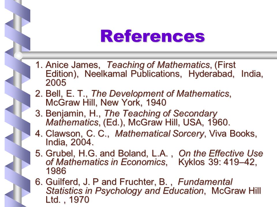 References Anice James, Teaching of Mathematics, (First Edition), Neelkamal Publications, Hyderabad, India,