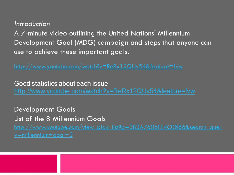 List of the 8 Millennium Goals