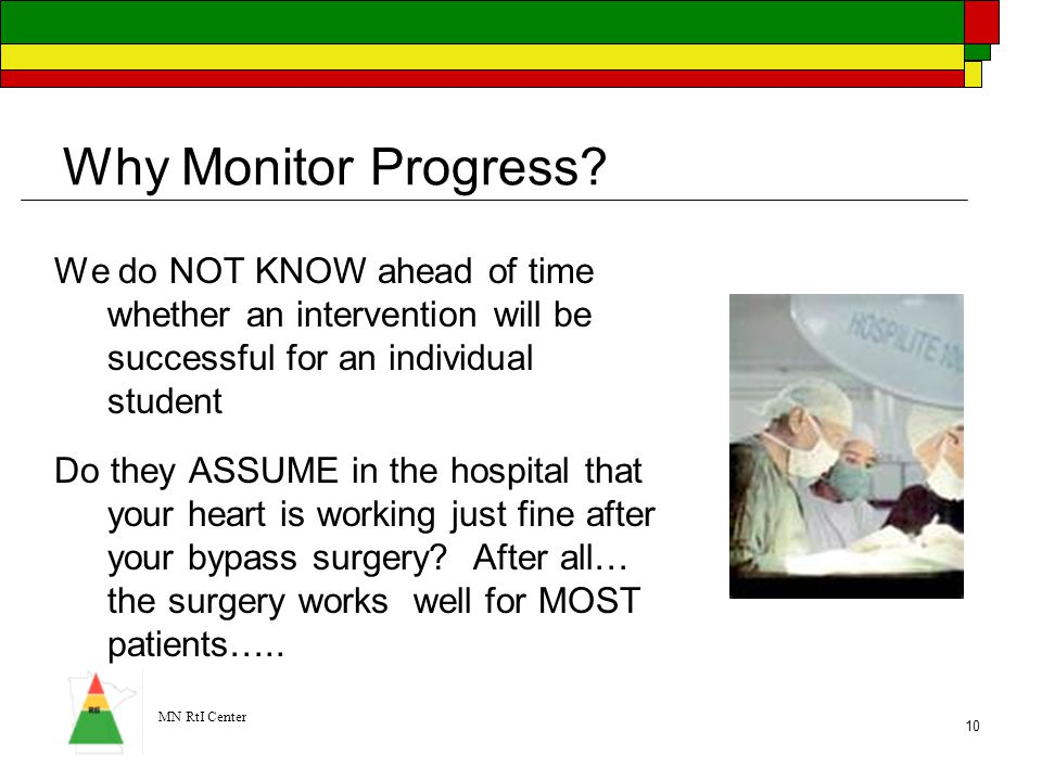 Why Monitor Progress We do NOT KNOW ahead of time whether an intervention will be successful for an individual student.