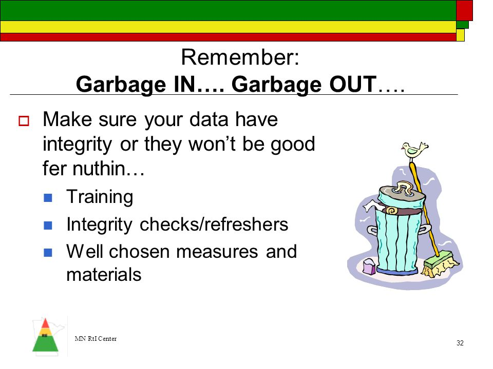 Remember: Garbage IN…. Garbage OUT….