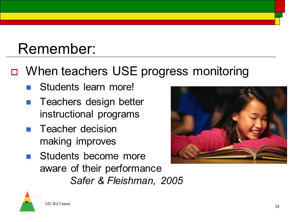 Remember: When teachers USE progress monitoring Students learn more!