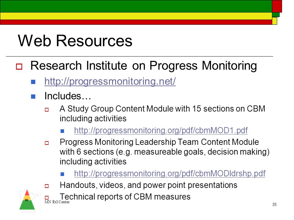 Web Resources Research Institute on Progress Monitoring