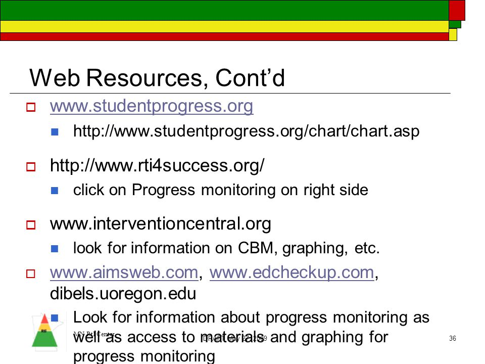 Web Resources, Cont'd www.studentprogress.org