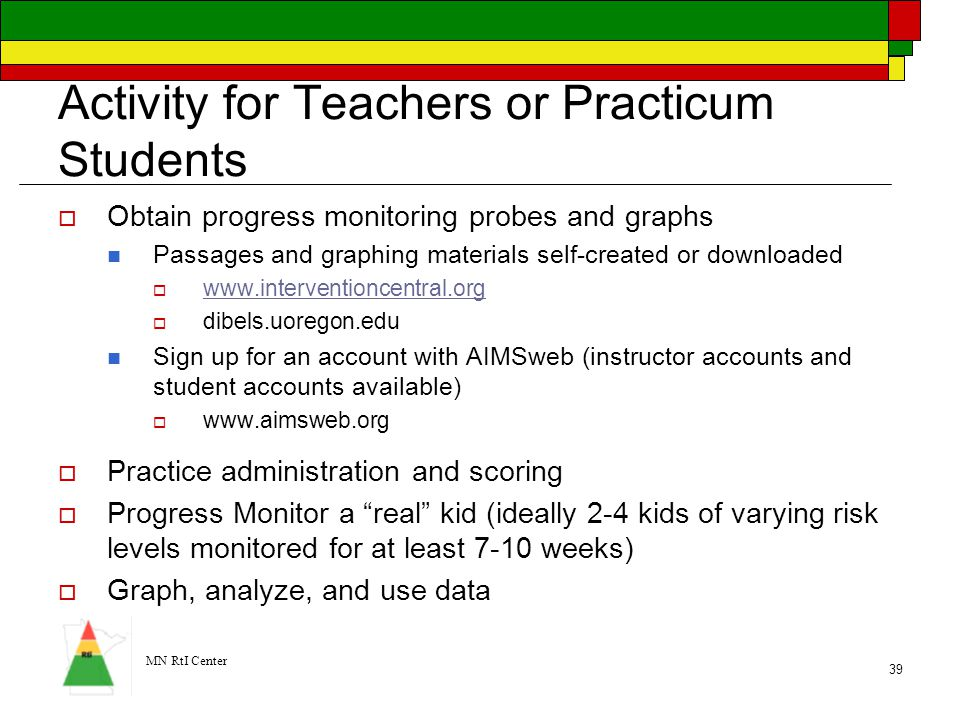 Activity for Teachers or Practicum Students