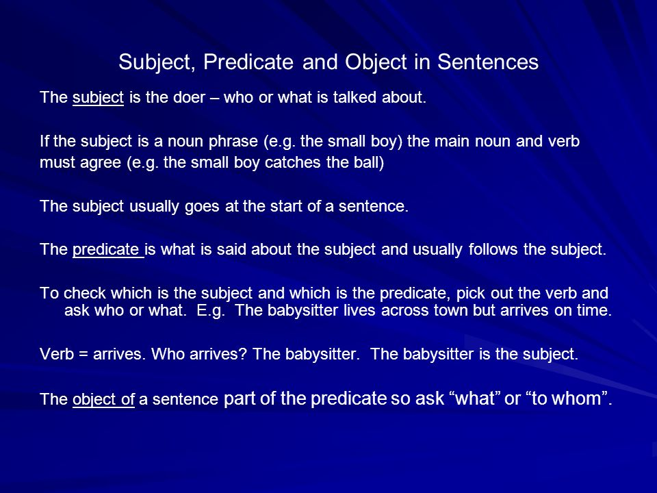 Subject, Predicate and Object in Sentences