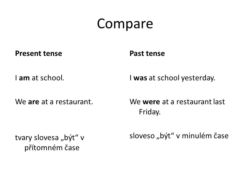 Compare Present tense Past tense