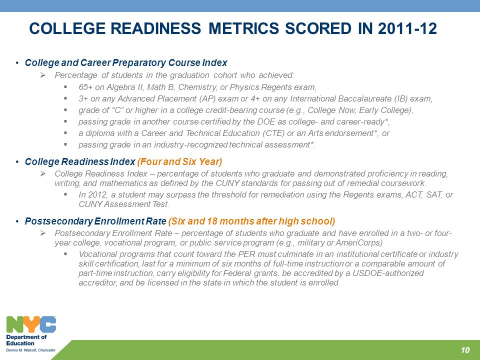 COLLEGE READINESS METRICS SCORED IN