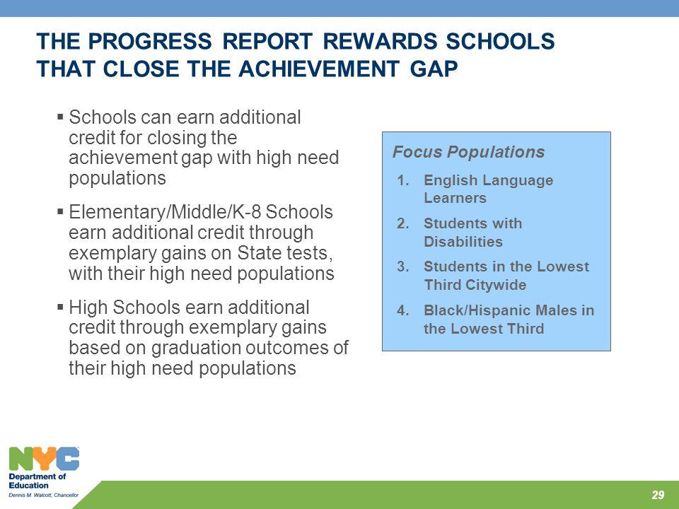THE PROGRESS REPORT REWARDS SCHOOLS THAT CLOSE THE ACHIEVEMENT GAP