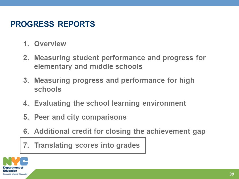 PROGRESS REPORTS Overview