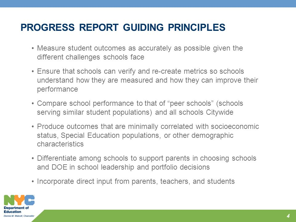 PROGRESS REPORT GUIDING PRINCIPLES
