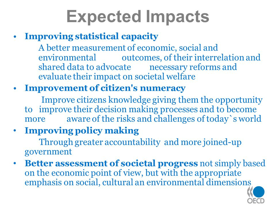 Expected Impacts Improving statistical capacity