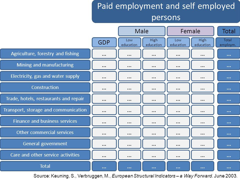 Paid employment and self employed persons