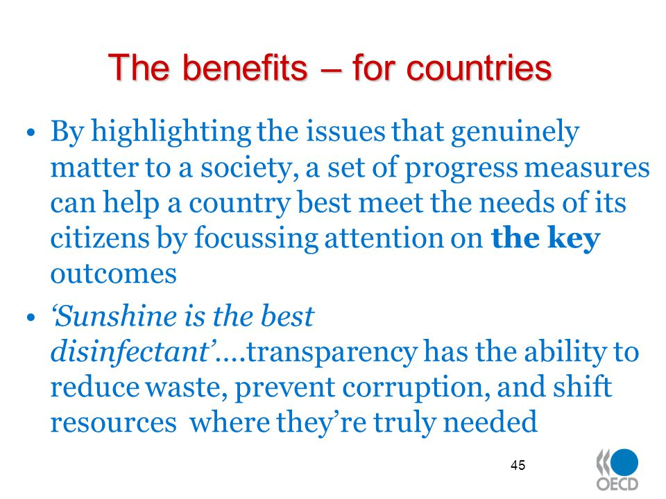 The benefits – for countries
