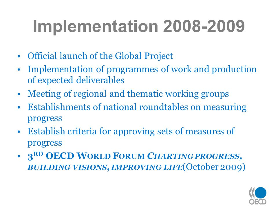Implementation 2008-2009 Official launch of the Global Project