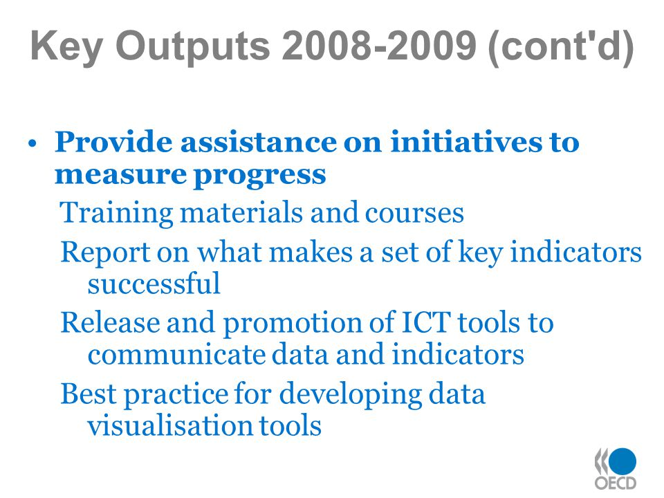 Key Outputs (cont d) Provide assistance on initiatives to measure progress. Training materials and courses.