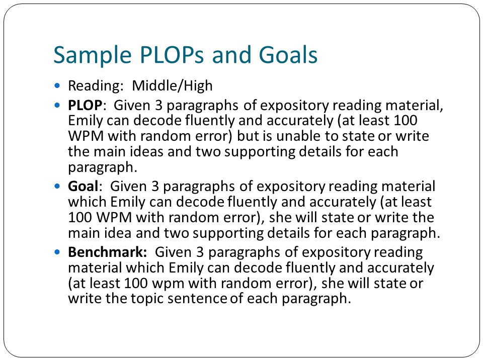 Sample PLOPs and Goals Reading: Middle/High
