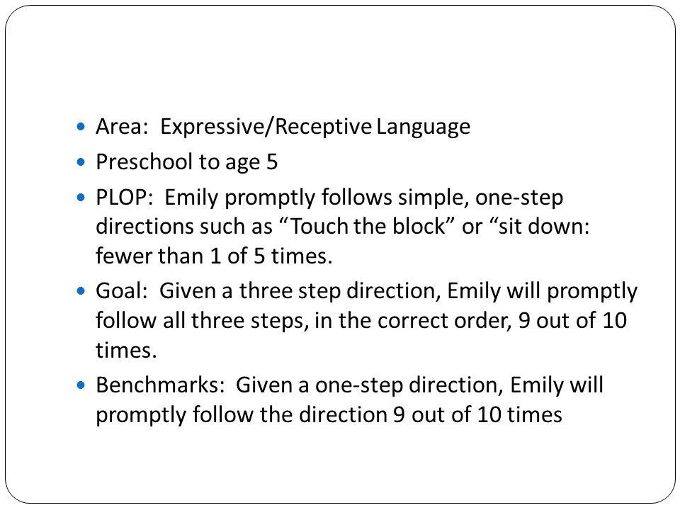 Area: Expressive/Receptive Language