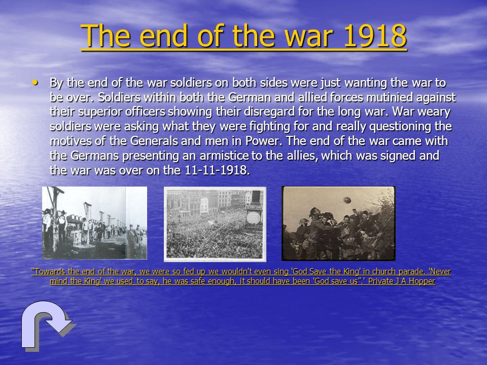 The end of the war 1918
