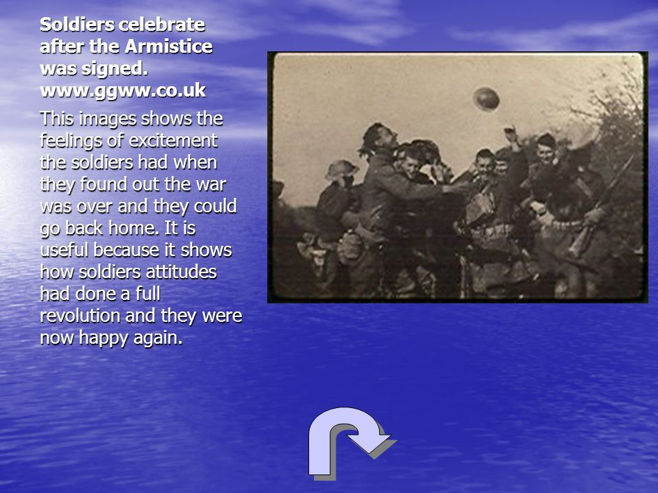Soldiers celebrate after the Armistice was signed. www.ggww.co.uk