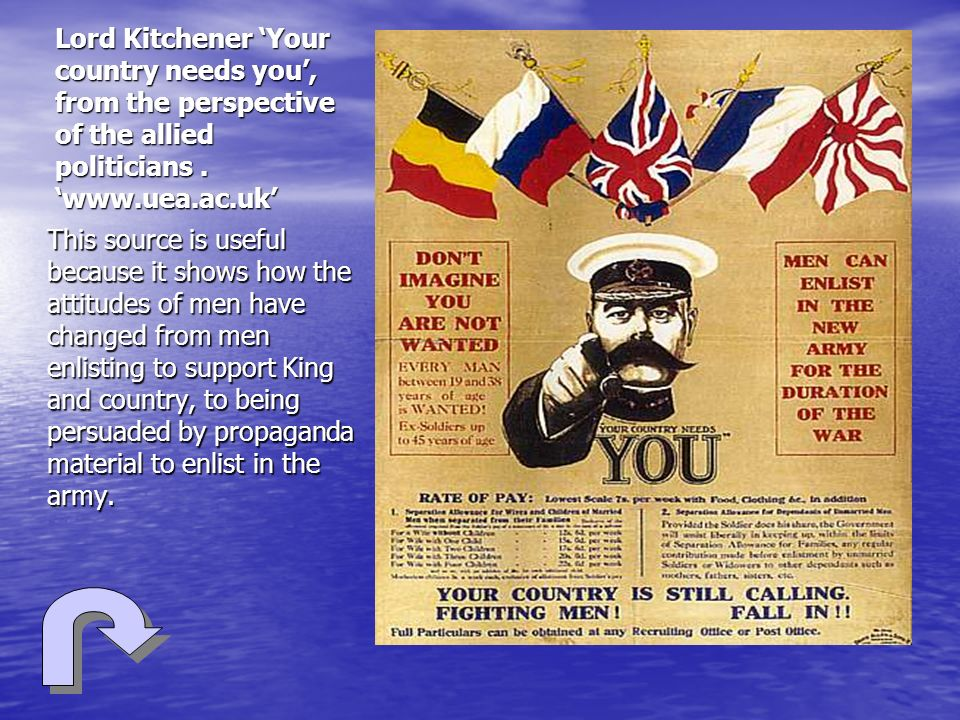 Lord Kitchener 'Your country needs you', from the perspective of the allied politicians . 'www.uea.ac.uk'
