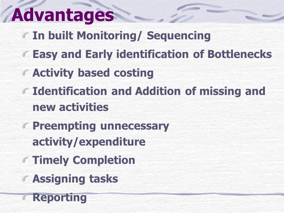 Advantages In built Monitoring/ Sequencing