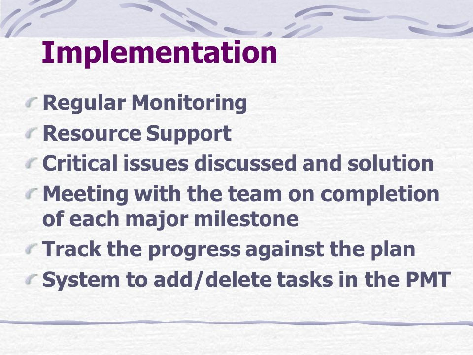 Implementation Regular Monitoring Resource Support
