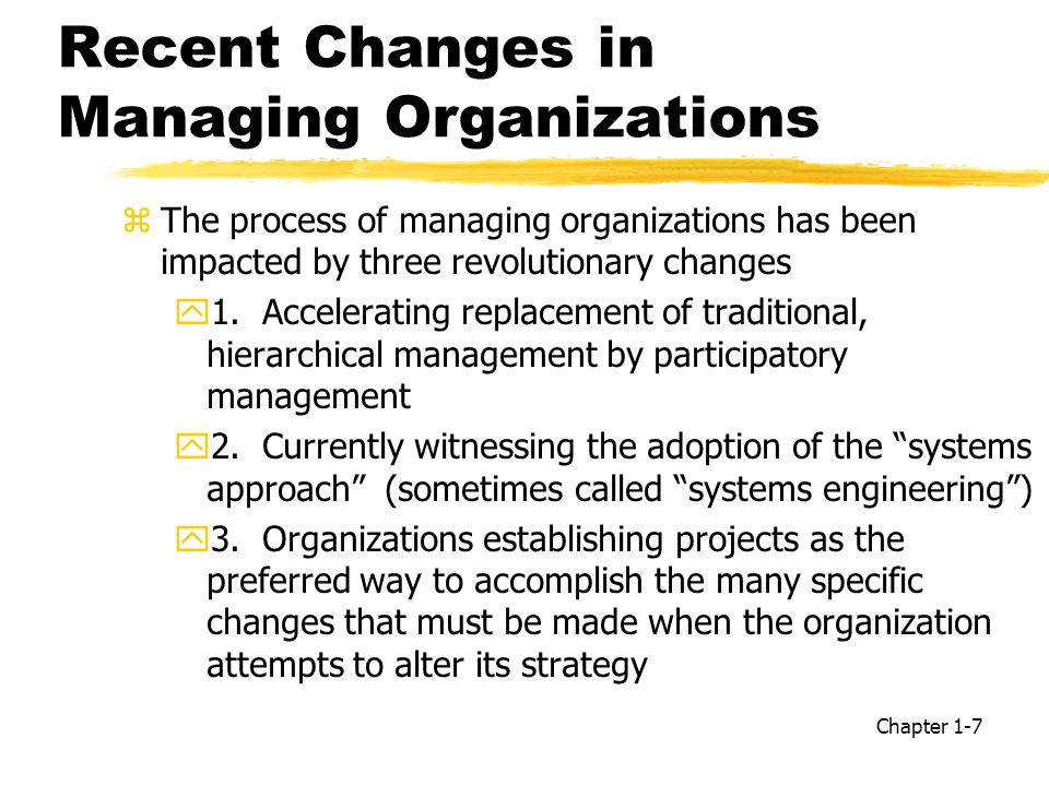 Recent Changes in Managing Organizations