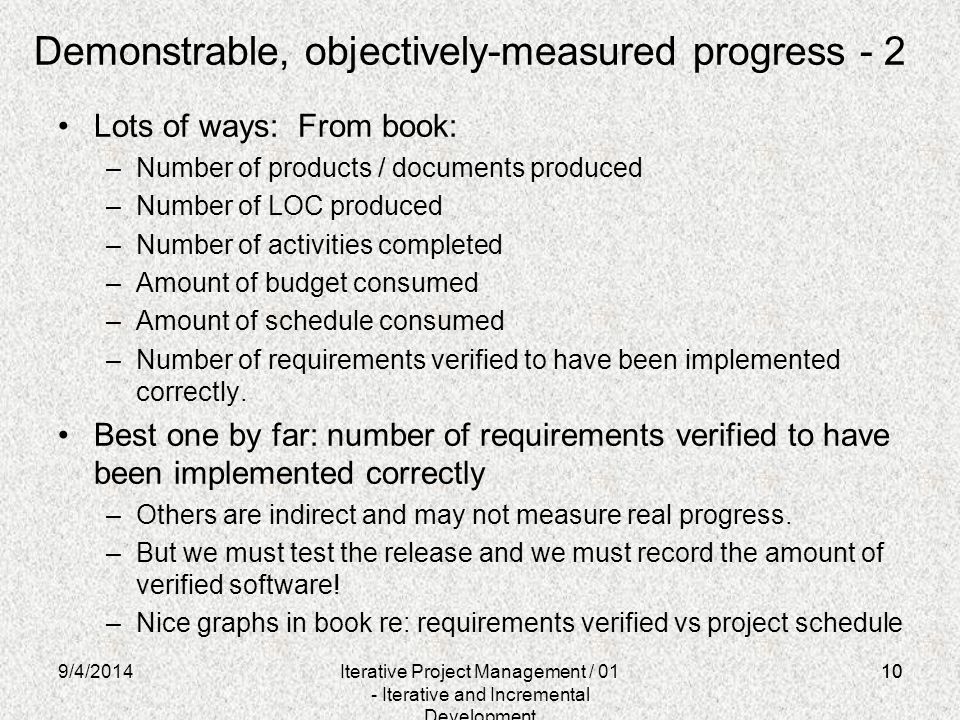 Demonstrable, objectively-measured progress - 2
