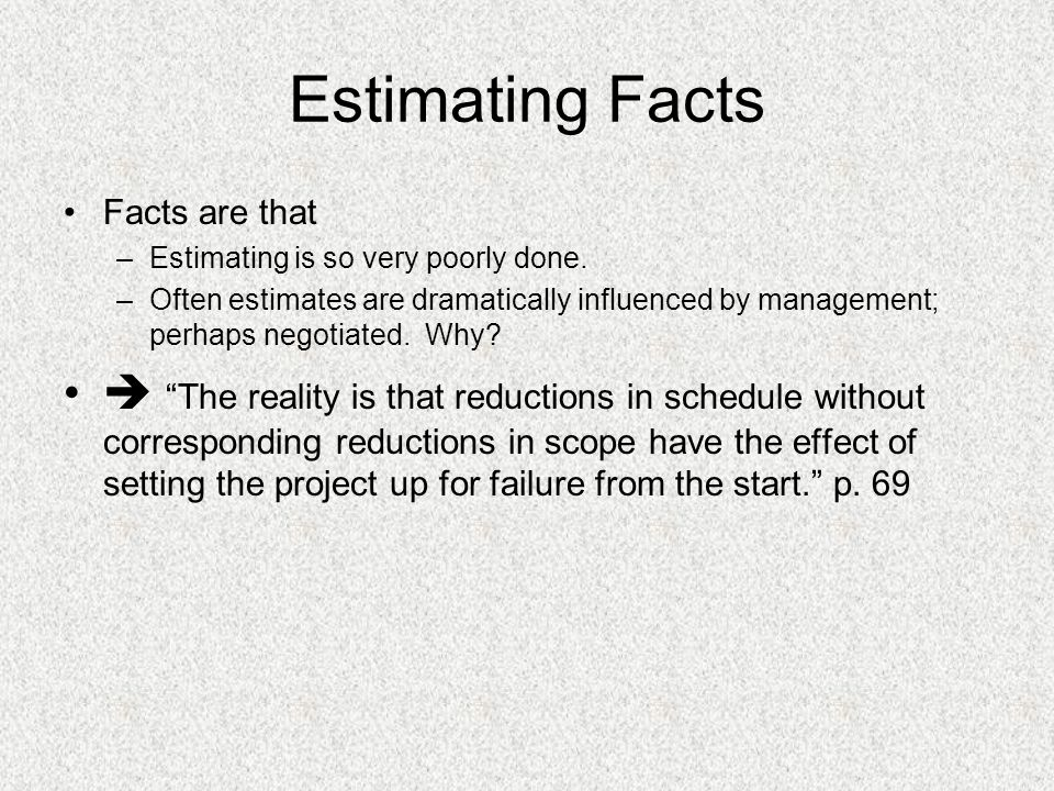 Estimating Facts Facts are that. Estimating is so very poorly done.