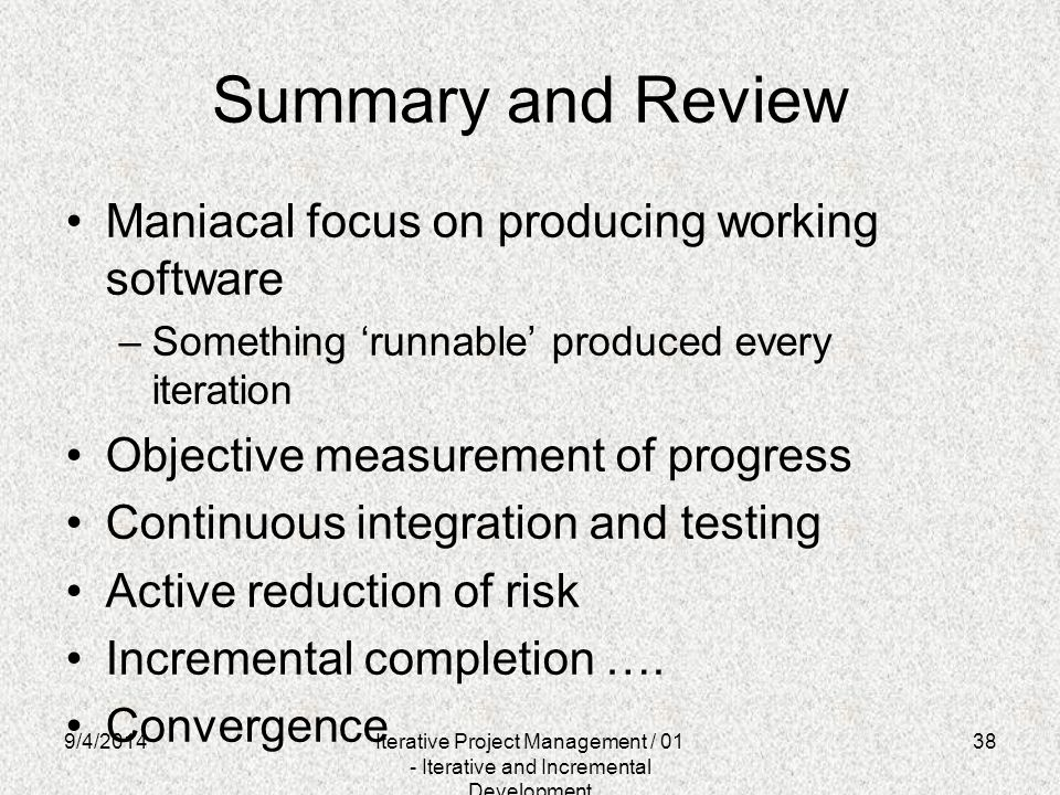 Summary and Review Maniacal focus on producing working software