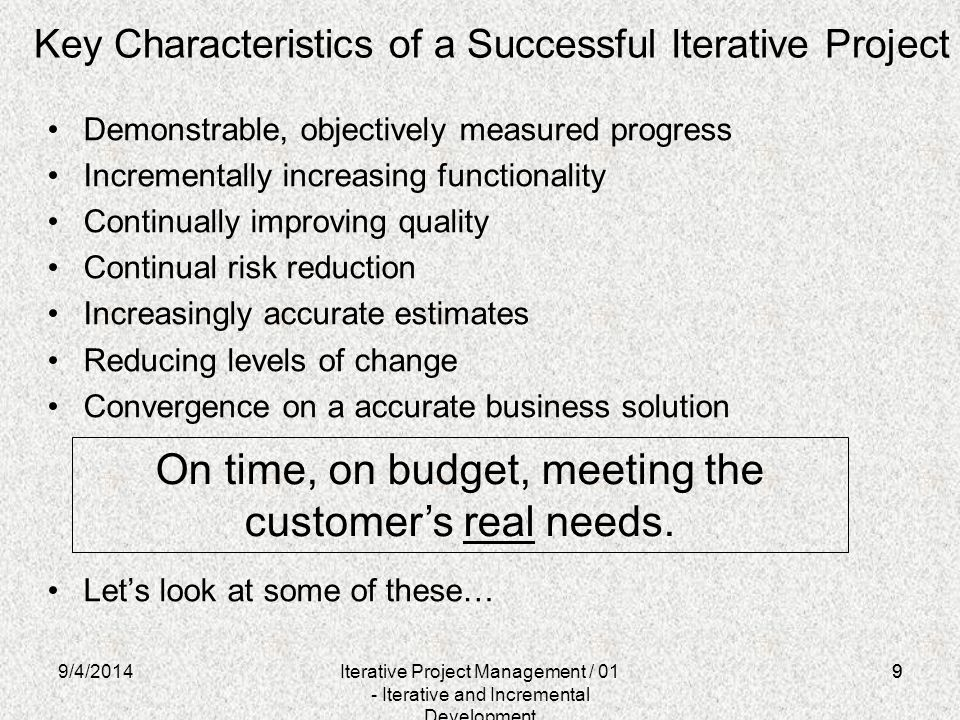 Key Characteristics of a Successful Iterative Project