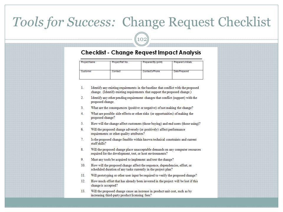 Tools for Success: Change Request Checklist