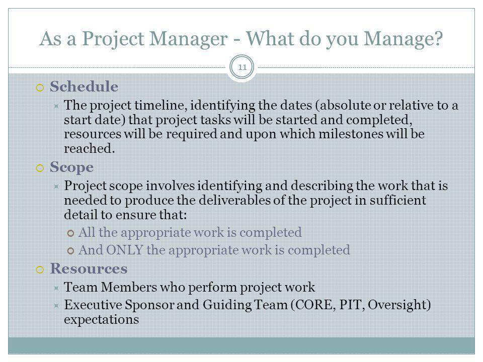 As a Project Manager - What do you Manage