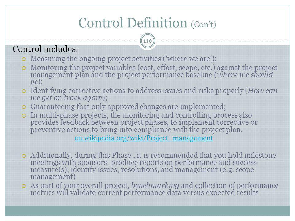 Control Definition (Con't)