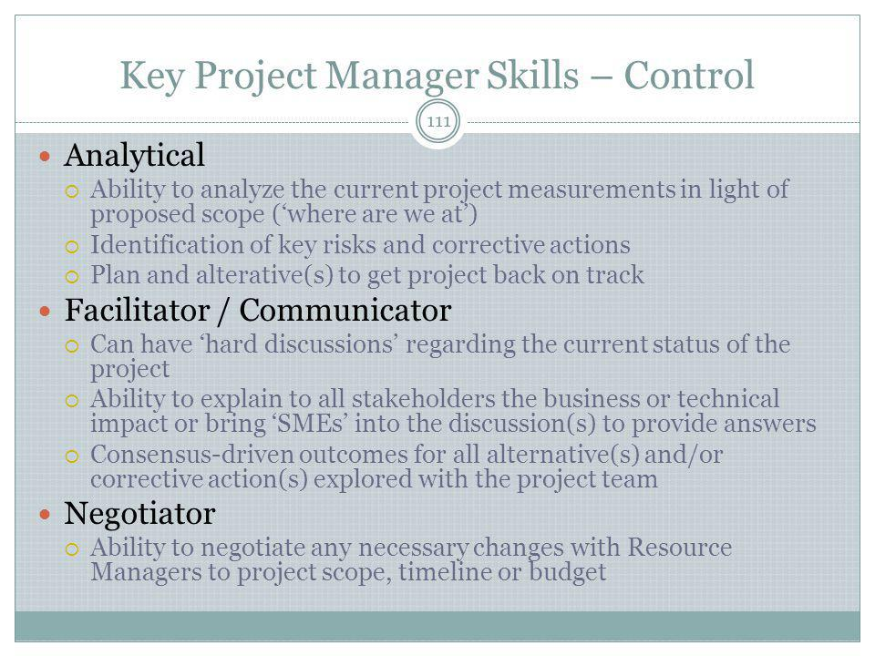 Key Project Manager Skills – Control