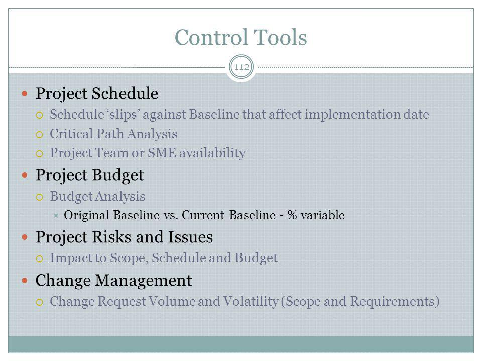 Control Tools Project Schedule Project Budget Project Risks and Issues
