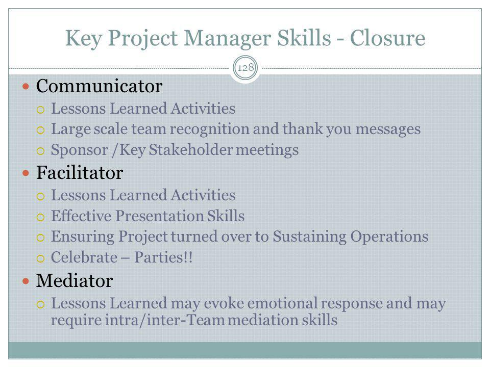Key Project Manager Skills - Closure