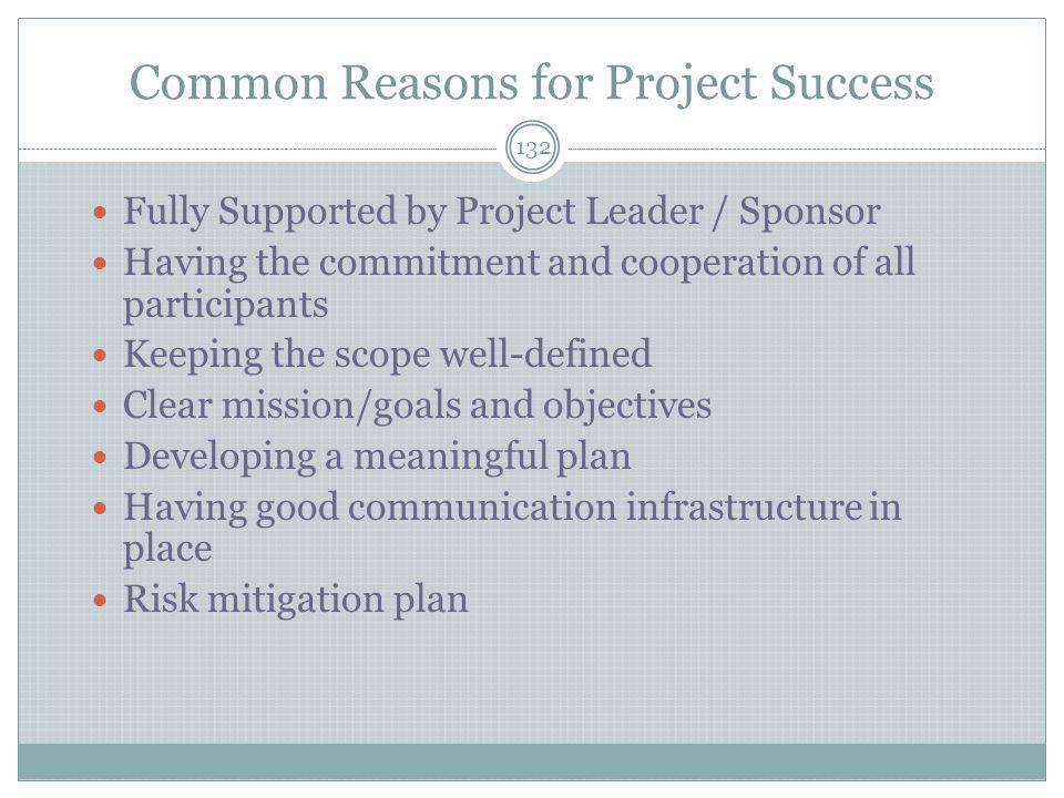 Common Reasons for Project Success