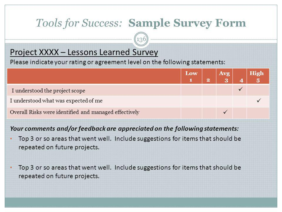 Tools for Success: Sample Survey Form