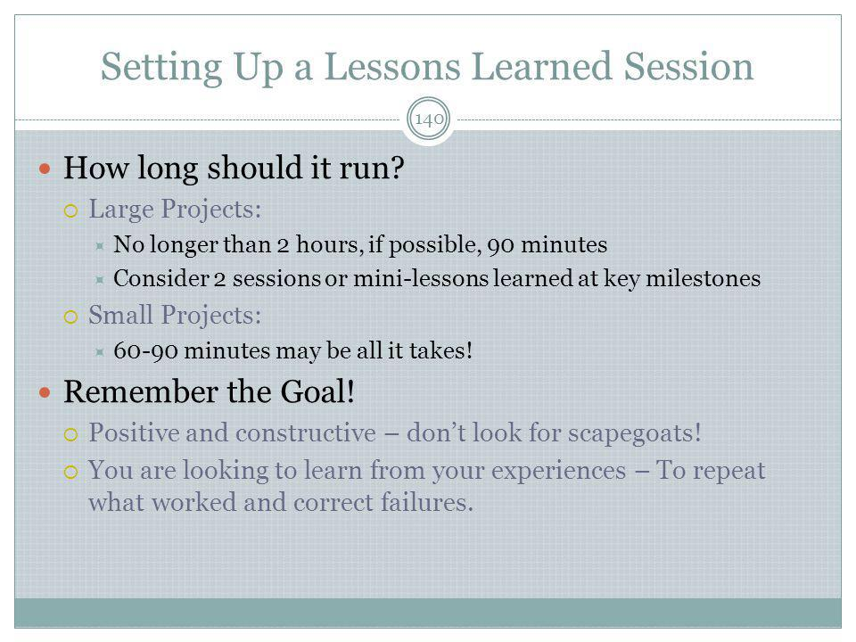 Setting Up a Lessons Learned Session