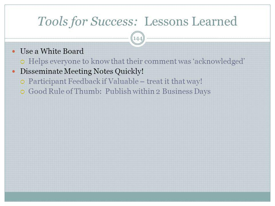 Tools for Success: Lessons Learned