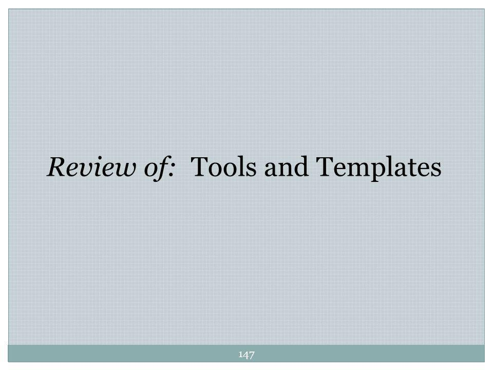 Review of: Tools and Templates