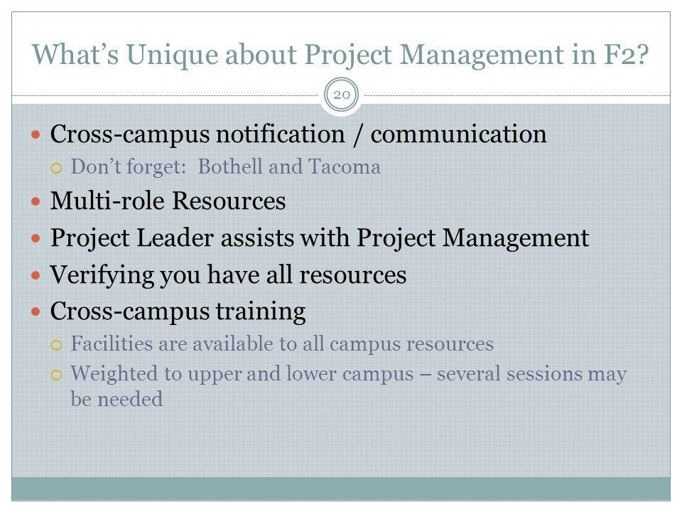 What's Unique about Project Management in F2
