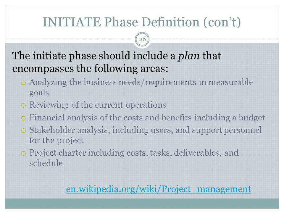 INITIATE Phase Definition (con't)