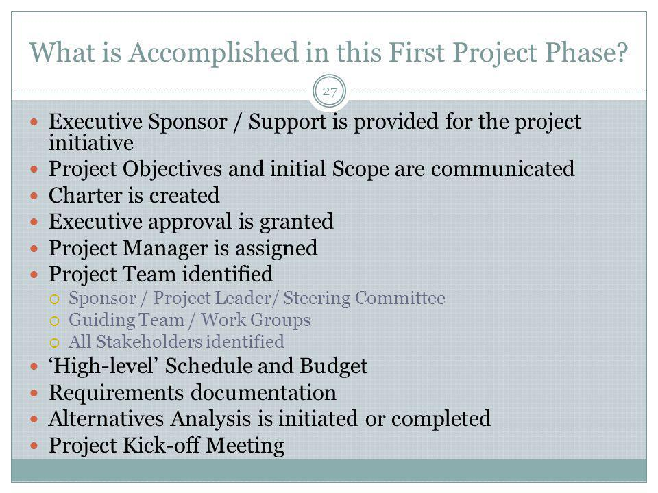 What is Accomplished in this First Project Phase