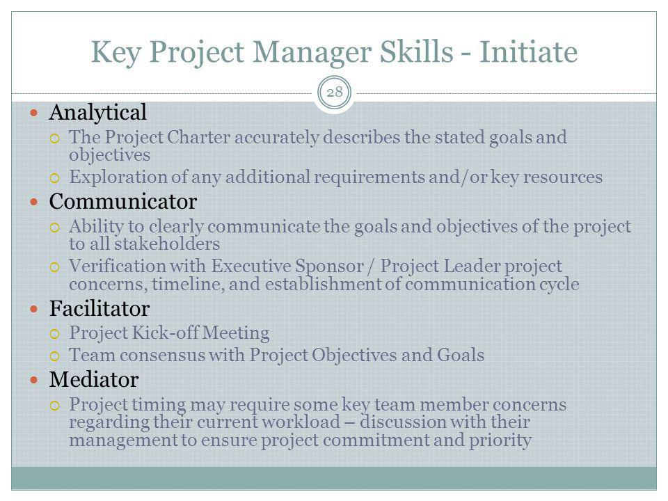 Key Project Manager Skills - Initiate